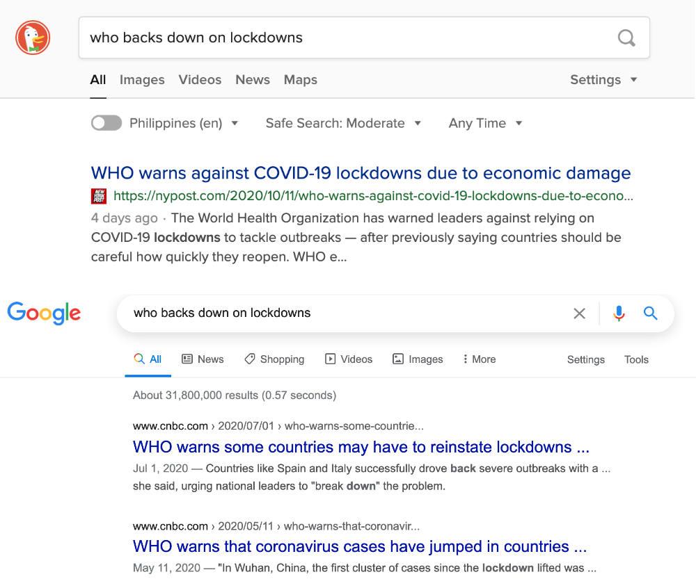 Google filtered information